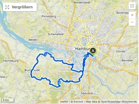 Die Strecke des Mammutmarsches Hamburg. Quelle: komoot.de / OpenStreetMap